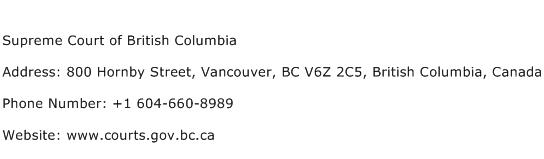 Supreme Court of British Columbia Address Contact Number