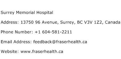 Surrey Memorial Hospital Address Contact Number