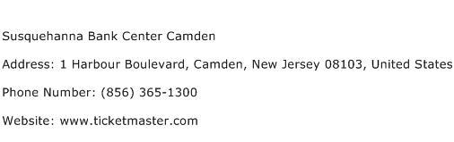 Susquehanna Bank Center Camden Address Contact Number