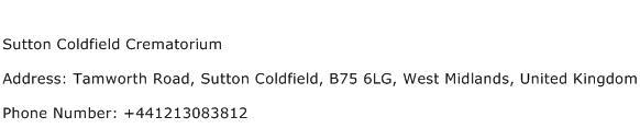 Sutton Coldfield Crematorium Address Contact Number