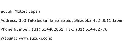 Suzuki Motors Japan Address Contact Number