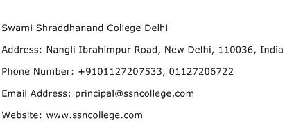 Swami Shraddhanand College Delhi Address Contact Number