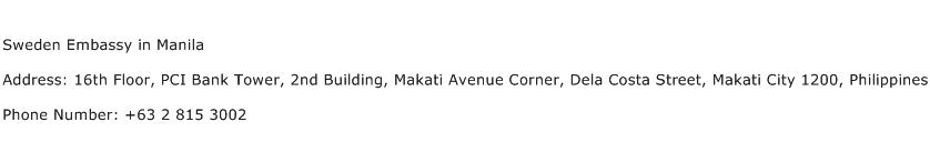 Sweden Embassy in Manila Address Contact Number