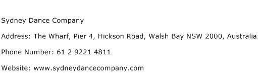 Sydney Dance Company Address Contact Number