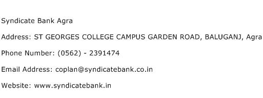 Syndicate Bank Agra Address Contact Number