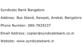 Syndicate Bank Bangalore Address Contact Number