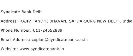 Syndicate Bank Delhi Address Contact Number