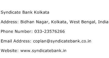 Syndicate Bank Kolkata Address Contact Number