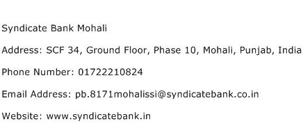Syndicate Bank Mohali Address Contact Number