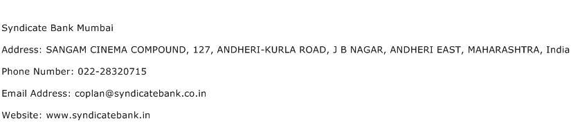 Syndicate Bank Mumbai Address Contact Number