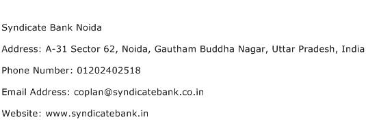 Syndicate Bank Noida Address Contact Number