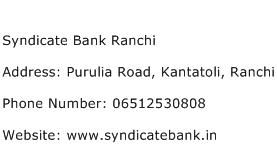 Syndicate Bank Ranchi Address Contact Number
