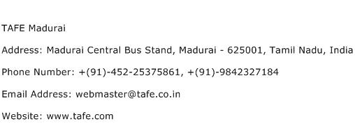 TAFE Madurai Address Contact Number