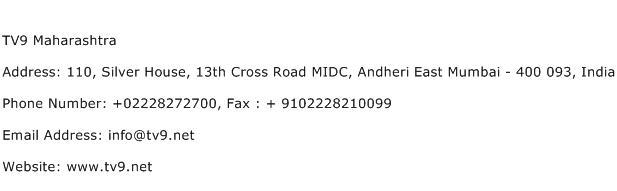 TV9 Maharashtra Address Contact Number