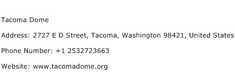 Tacoma Dome Address Contact Number