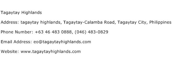 Tagaytay Highlands Address Contact Number
