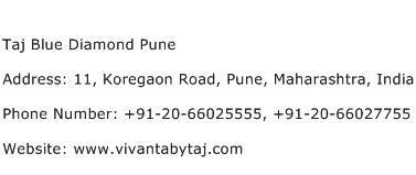 Taj Blue Diamond Pune Address Contact Number