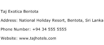 Taj Exotica Bentota Address Contact Number