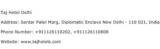 Taj Hotel Delhi Address Contact Number