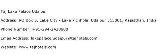 Taj Lake Palace Udaipur Address Contact Number