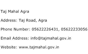 Taj Mahal Agra Address Contact Number
