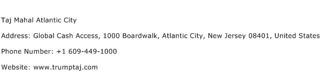 Taj Mahal Atlantic City Address Contact Number