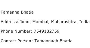 Tamanna Bhatia Address Contact Number