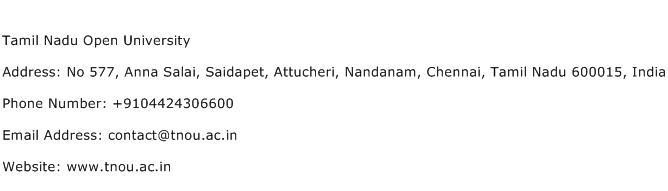 Tamil Nadu Open University Address Contact Number