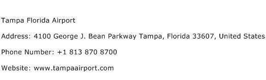 Tampa Florida Airport Address Contact Number