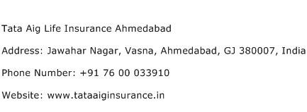 Tata Aig Life Insurance Ahmedabad Address Contact Number