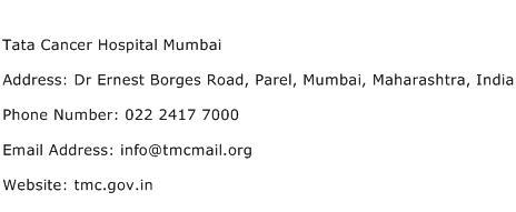 Tata Cancer Hospital Mumbai Address Contact Number