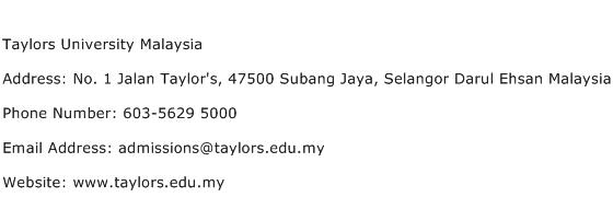Taylors University Malaysia Address Contact Number