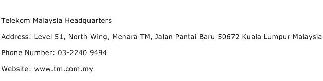 Telekom Malaysia Headquarters Address Contact Number