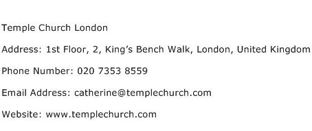Temple Church London Address Contact Number