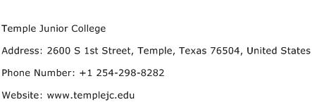 Temple Junior College Address Contact Number