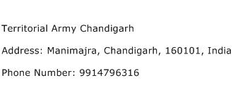 Territorial Army Chandigarh Address Contact Number