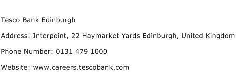 Tesco Bank Edinburgh Address Contact Number
