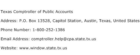 Texas Comptroller of Public Accounts Address Contact Number