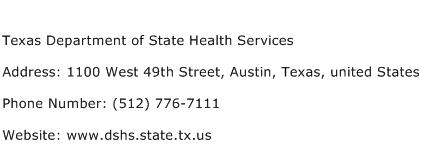 Texas Department of State Health Services Address Contact Number
