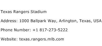 Texas Rangers Stadium Address Contact Number