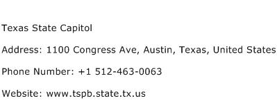 Texas State Capitol Address Contact Number