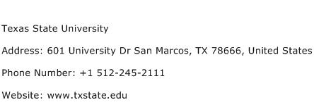 Texas State University Address Contact Number