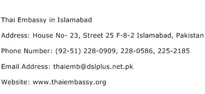 Thai Embassy in Islamabad Address Contact Number