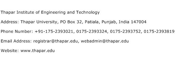 Thapar Institute of Engineering and Technology Address Contact Number