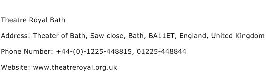 Theatre Royal Bath Address Contact Number