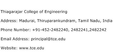 Thiagarajar College of Engineering Address Contact Number