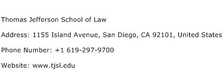 Thomas Jefferson School of Law Address Contact Number