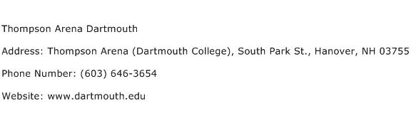 Thompson Arena Dartmouth Address Contact Number