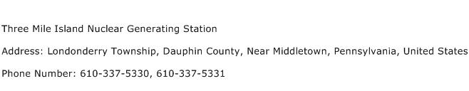 Three Mile Island Nuclear Generating Station Address Contact Number
