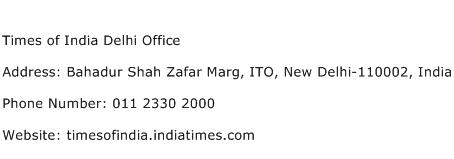Times of India Delhi Office Address Contact Number